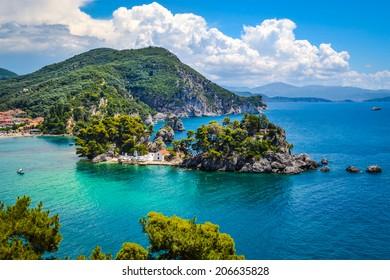 The island of Panagia near the coast of Parga, Greece.