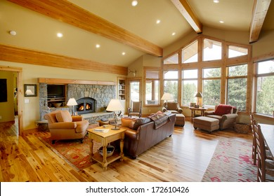 Island Park, Idaho, USA.  Oct, 6 2008  The interior view of the great room in a mountain cabin.  This image shows the warmth and comfort in a modern cabin.