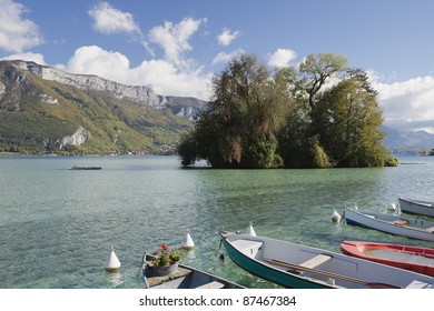 island and pier on Lake Annecy in the Haute Savoie in France