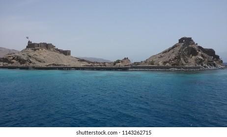 Island in the red sea. Pharoah's Island. Taba. Egypt.