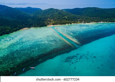 Island and reef, Aerial drone photo tropical turquoise water Koh Samui Island, Thailand