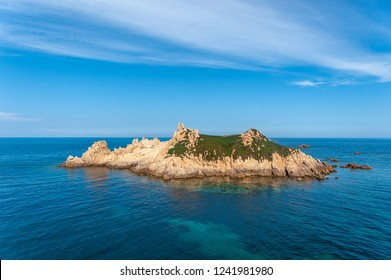 Island Rocher des Portes at the Cap Camarat near Ramatuelle in the Department Var of the province Provence-Alpes-Cote d Azur