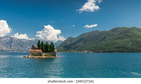 Island of Saint George in the Bay of Kotor, Montenegro,  in a sunny summer day