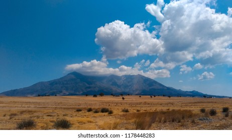 Island of Samothrace in Greece. Cloudy Mountain.