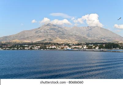 Island of Samothraki in Greece. View of the 'Fengari' top and the port of Kamariotissa
