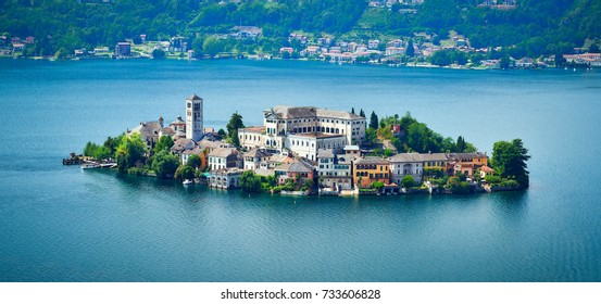 The island of San Giulio by the Italian lake - lago d'Orta, Piemonte, Italy.