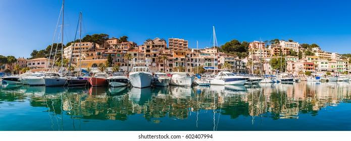 Island scenery, coastline Spain Majorca, beautiful panorama view of Port de Soller, Balearic Islands, Mediterranean Sea.