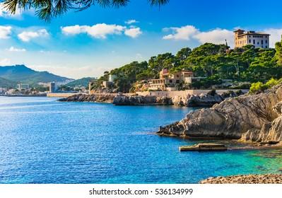 Island scenery, seascape of Majorca Spain, idyllic coastline of Cala Rajada, Mediterranean Sea.