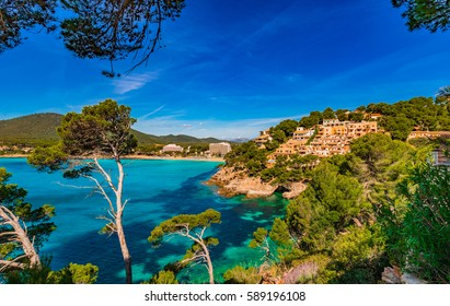 Island scenery, seascape Majorca Spain, beautiful coastline of Canyamel, Balearic Islands, Mediterranean Sea.