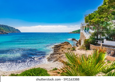 Island scenery, seascape Majorca Spain, idyllic coast bay of Sant Elm, Balearic Islands, Mediterranean Sea.