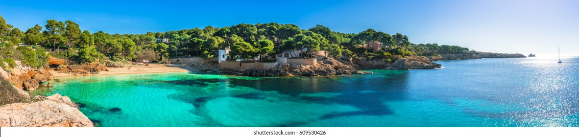 Island scenery, seascape Majorca Spain, beautiful panorama of Mediterranean Sea coastline in Cala Ratjada, beach of Cala Gat.