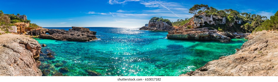 Island scenery, seascape panorama Majorca Spain, beautiful coast bay of Cala S'Almunia, Mediterranean Sea, Balearic Islands.