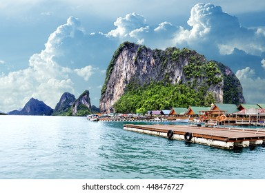 Island scenery.Seascape in Thailand.Phuket beach.Seascape in Thailand.Phuket beach.Gypsy Nomad village