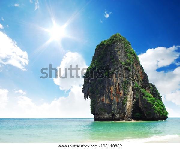Island sea sand sun beach nature destination wallpaper and background for design at phra nang bay and railay bay krabi Thailand