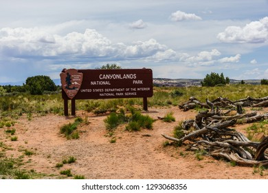 Island in the Sky Entrance Sign in Canyonlands National Park in Utah, United States