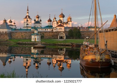 """ISLAND SOLOVKI, RUSSIA - JUNE 26, 2018: The yacht """"Saint Peter"""" is a replica of the little boat of Emperor Peter the First, on which he visited Solovki in June 1694.  Arkhangelsk region, White Sea"""