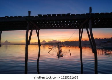 Island Sunset Landscape with Tour Boat - Siargao, Philippines