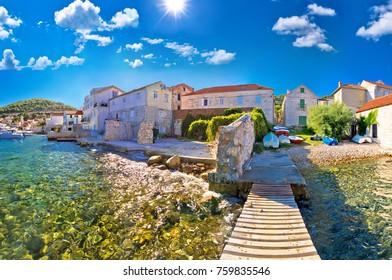 Island town of Vis idyllic waterfront view, archipelago of Dalmatia, Croatia