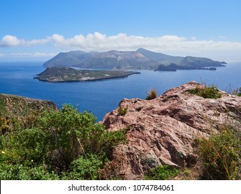 The Island of Vulcano seen from Lipari, Aeolian islands, Sicily, Italy