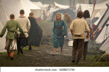 Island Wolin, Poland - August 06 2012: Festival of the Slavs and Vikings, reconstructed village of early medieval settlement of the Slav and the Vikings