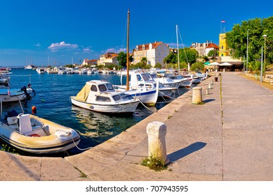 Island of Zlarin harbor panoramic view, Sibenk archipelago of Croatia