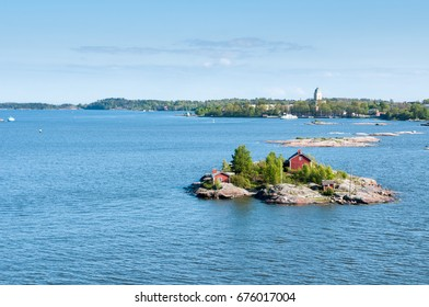 Islands of the archipelago in the Baltic Sea near Helsinki in a summer sunny day. Finland