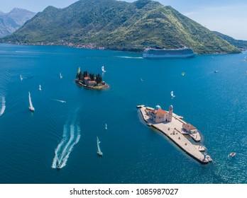 Islands in the Bay of Kotor, Perast, Montenegro,