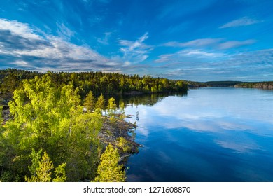 Islands from a height. Lake with islands. Karelia. Russia. Wildlife of Russia. Ladoga lake. Republic of Karelia.