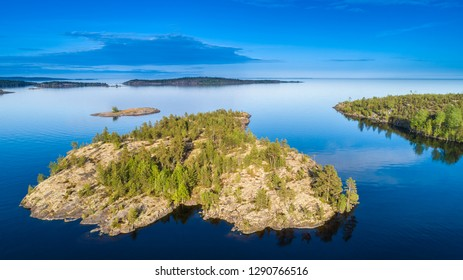 Islands. Northern nature. Islands from a height. Karelia. Ladoga lake. Russia. Panorama of Karelia. The nature of Russia. Islands in Lake Ladoga.