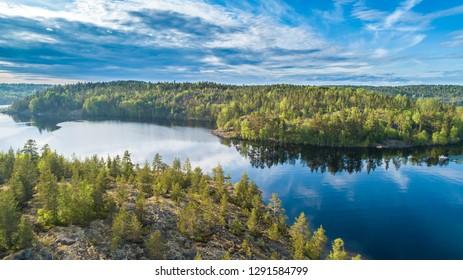 Islands. Northern nature. Islands from a height. Karelia. Ladoga lake. Russia. Panorama of Karelia. The nature of Russia. Islands in Lake Ladoga. Republic of Karelia.