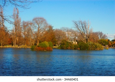 Islands on the lake at Queen Elizabeth Park, Masterton, New Zealand