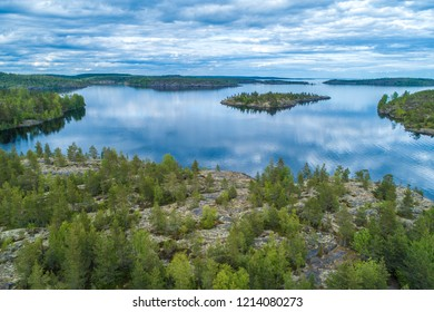 Islands. Panorama of the islands in the lake. Northern nature. Karelia. Russia. Nature of Karelia. Ladoga lake.