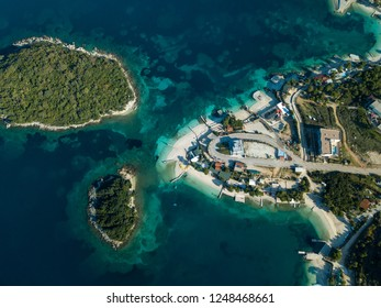 islands with rocky beaches and sandy beaches in ksamil Albania