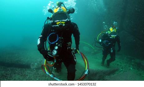 Galápagos Islands/Archipelago in Ecuador - 06/06/2019  A diver diving in the sea