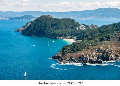 ISLAS CIES, SPAIN - CIRCA SEPTEMBER 2017: Praia de San Martino, Illa de San Martino on the Cies Islands of Spain, included in the Atlantic Islands of Galicia National Park.