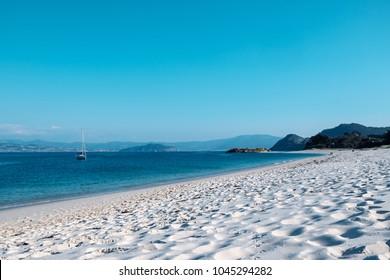 Islas Cies, Vigo, Spain. Vigo estuarys greatest treasure. Galicia.  Island connected by beach Playa de Rodas.