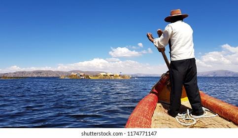 "Islas de los Uros the ""floating islands"" in the Peruvian part of Lake Titicaca"