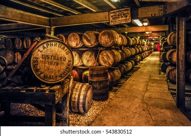 ISLAY, SCOTLAND - JUNE 3, 2014: Whisky maturing in barrels at the famed Laphroaig Distillery