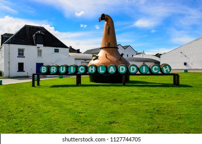 ISLAY, UNITED KINGDOM - 25 August 2013: Scenic view of Bruichladdich distillery, Island of Islay, United Kingdom