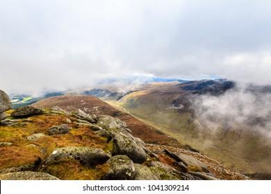Isle of arran hiking trail on a foggy day