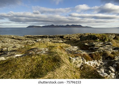 Isle of Arran from the Kintyre with copy space.