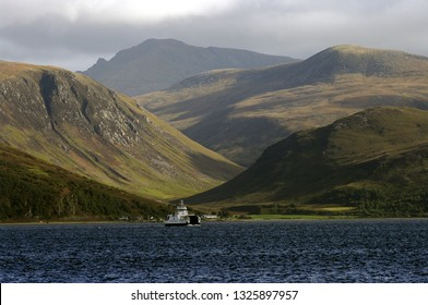 Isle of Arran,Scotland,UK. 25/9/2018. The ferry from the Isle of Arran to Skipness on Kintyre Argyll. The hills of Arran and the tiny village of Catacol in the background