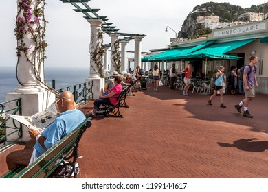 Isle of Capri, Italy. June 07, 2011: People relax and enjoy the view from the top of the mountain on the Isle of Capri.