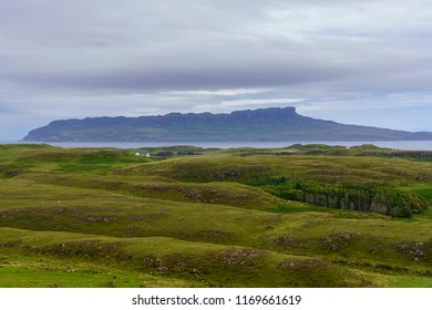 The Isle of Eigg as seen from the Isle of Muck.  Eigg is one of the Small Isles, in the Scottish Inner Hebrides.