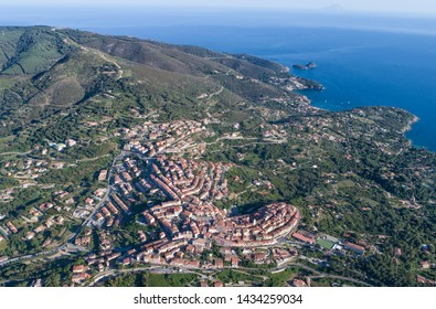 Isle of Elba, panoramic view of village of Capoliveri, aerial view. Tuscany, Italy