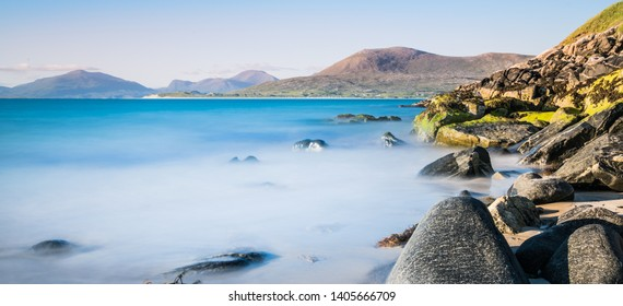 Isle of Harris landscape - beautiful endless sandy beach and turquoise ocean