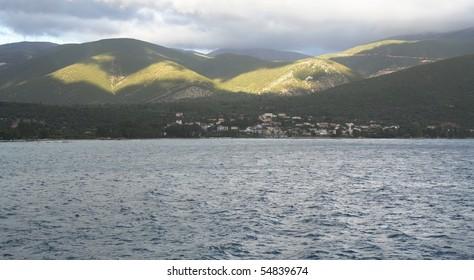 Isle of Kefalonia under cloudy sky