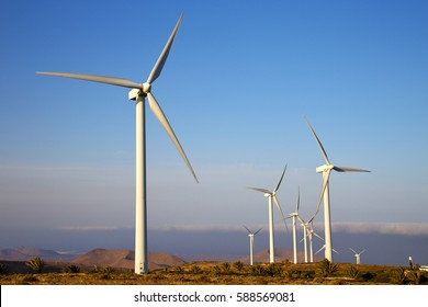 isle of lanzarote   spain africa wind turbines and the sky