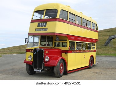 ISLE OF MAN, UK, JULY 31 2016: Jurby Transport Museum Bus: Douglas Corporation Transport No.58, AEC Regent III at the Bungalow Station, Mountain Road, Isle of Man