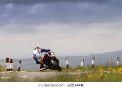 ISLE OF MAN, UK - June 03 2017: Peter Hickman practicing for the TT (Tourist Trophy) on public roads